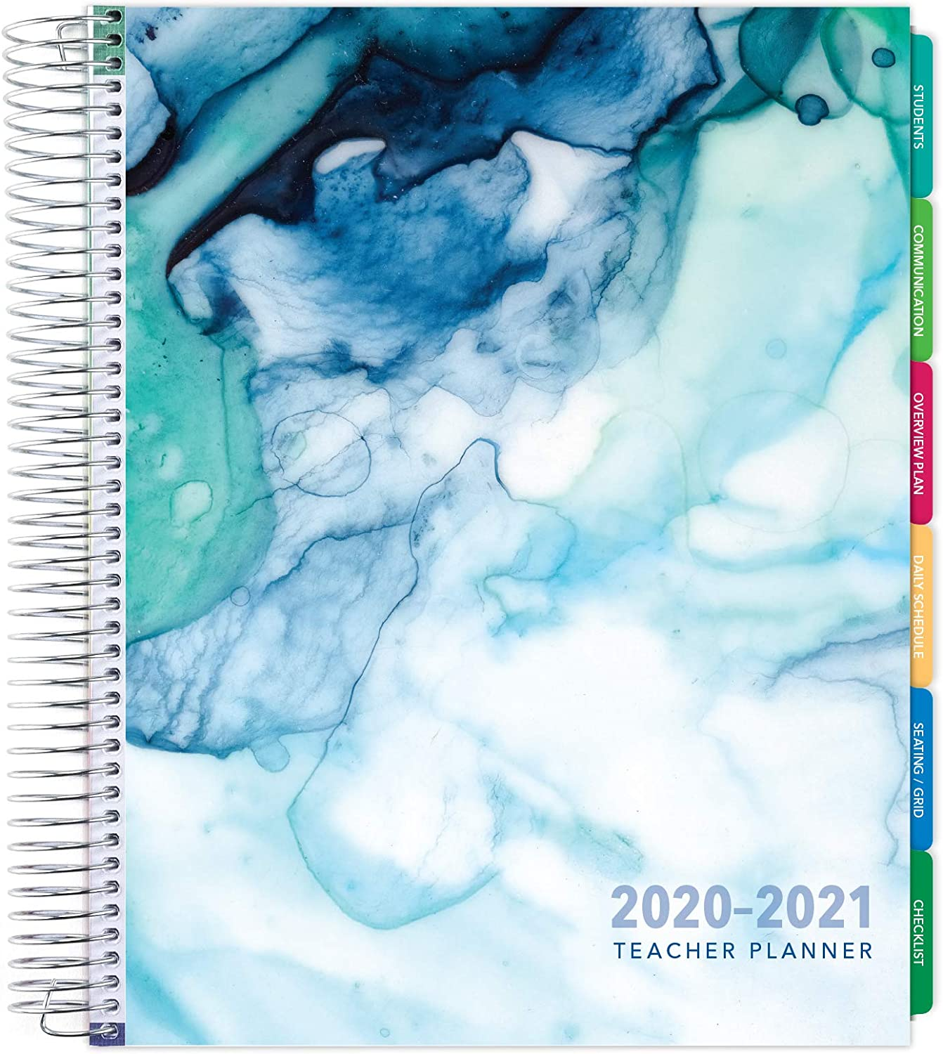 Pocket Folder Daily Weekly Monthly Planner Yearly Agenda Bookmark Seaside Watercolor Planning Stickers Page Tabs Deluxe Undated Teacher Planner: 8.5x11 Includes 7 Periods