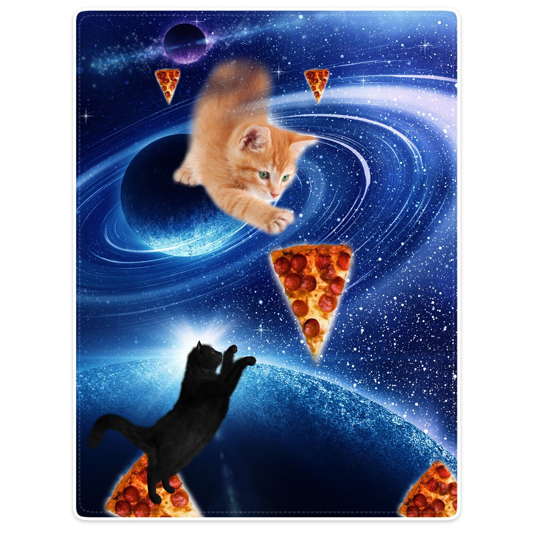 "Throw Blankets Fleece Blanket for Sofa Bed Blue Fantasy Galaxy Nebula Funny Cat Pizza 30"" x 40"""