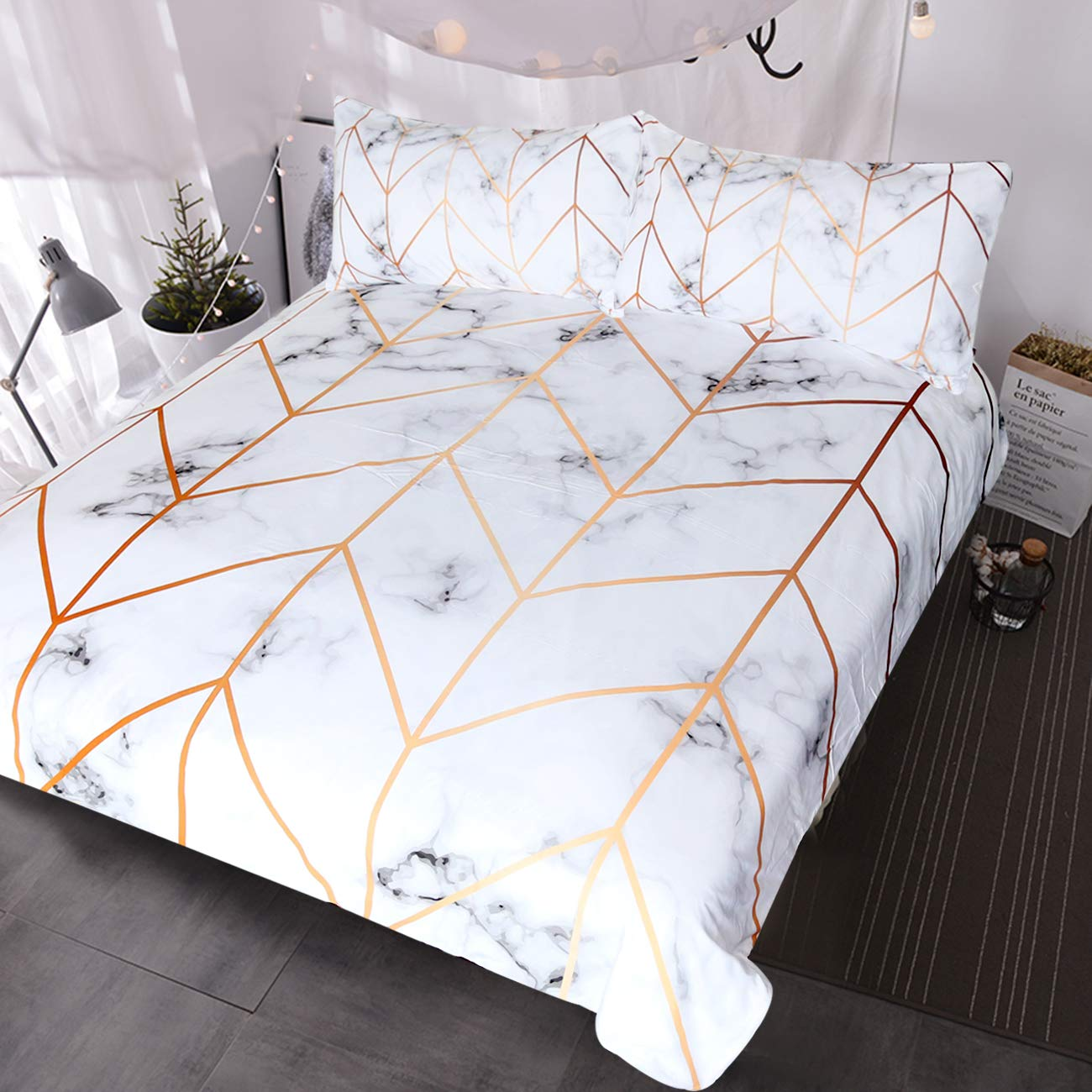 BlessLiving White Marble Bedding Geometric Rose Gold Stripes Lines Pattern Duvet Cover 3 Pieces Ultra Soft Nature Home Decor Marble Bed Set (Queen)