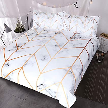 Amazon BlessLiving White Marble Bedding Geometric Rose Gold