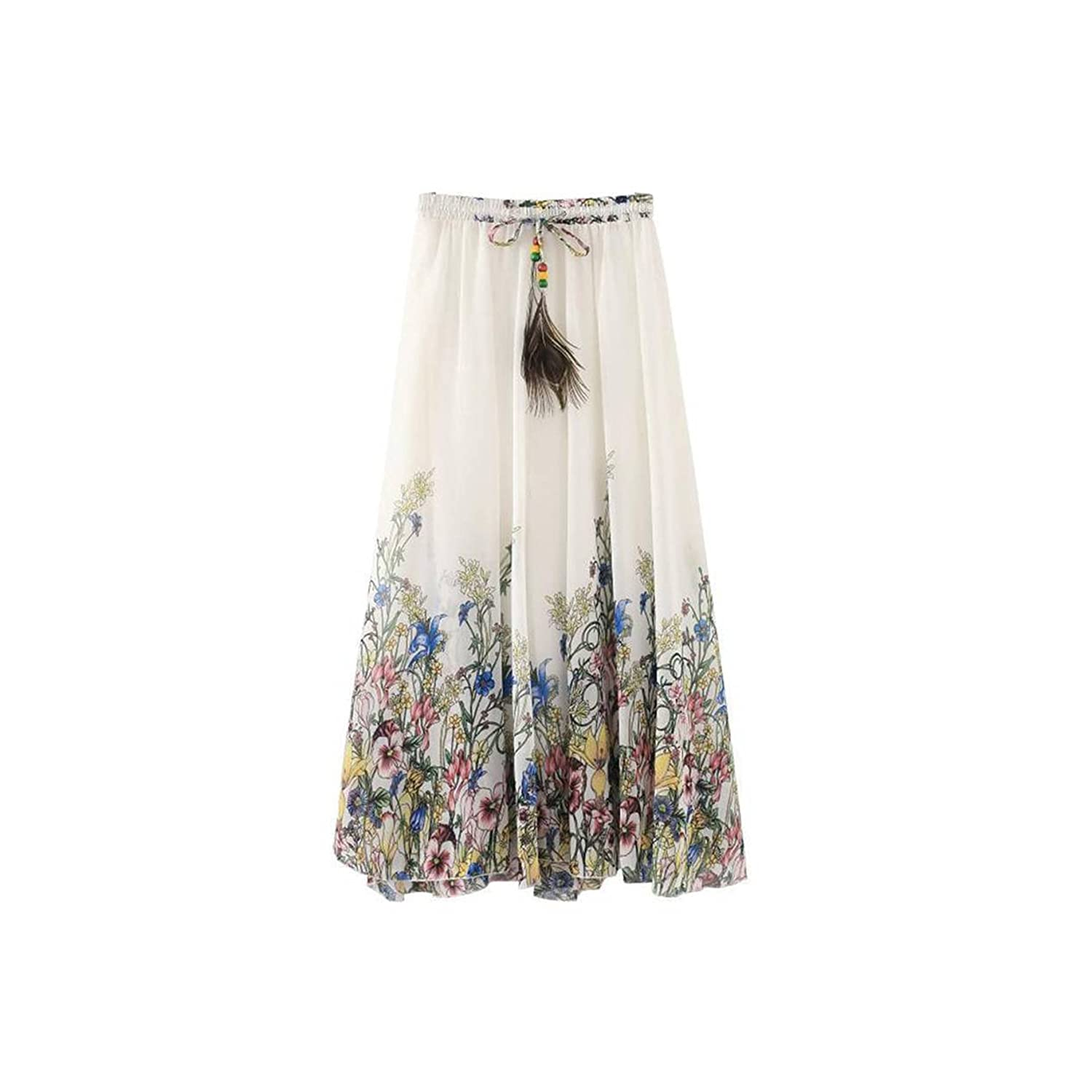 Kaxuyiiy Women's Casual Beach Peacock Feather Maxi Elastic Waist Long Pleated Skirt WS047
