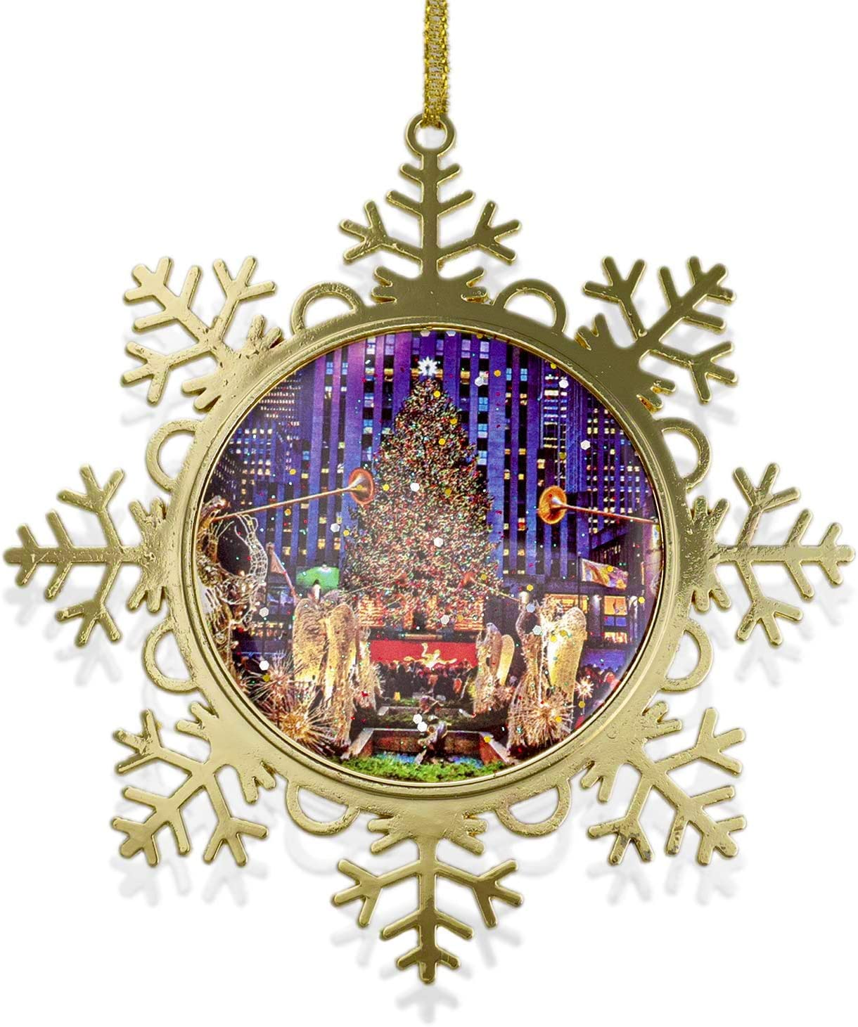 amazon com new york ornament rockefeller center christmas tree snowflake metal ornament 4 inch w gold gift box christmas in nyc collection kitchen dining amazon com