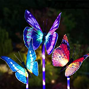 Solar Lights Outdoor Greenke Butterfly Fairy Garden Lights Solar Powered Lamps - 3 Pack Beautiful Multi Color Changing LED Outdoor Ornaments Patio Yard Lawn Garden Decoration Light