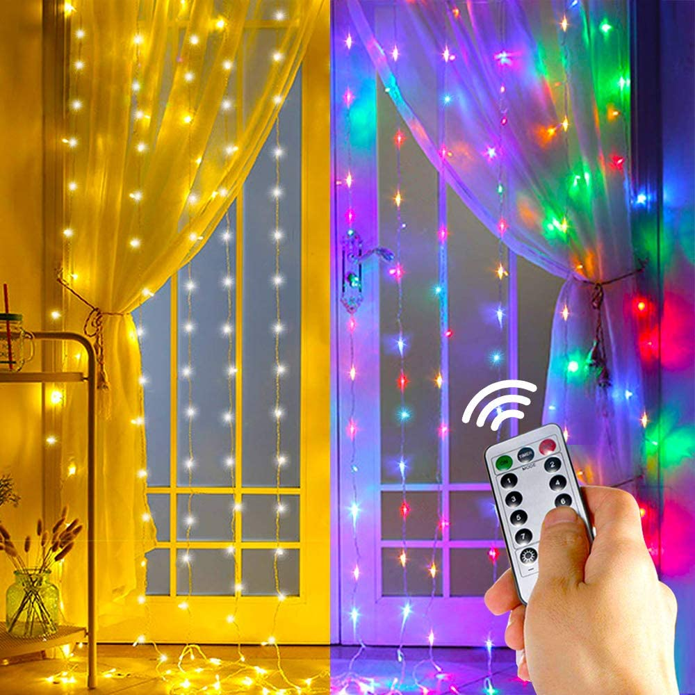 2 Color Twinkle Star Window Curtain String Light, Warm White & Multicolor 300LED Fairy Starry Lights USB Powered Remote & Timer Waterfall Fairy Lights for Bedroom WallIndoor Outdoor