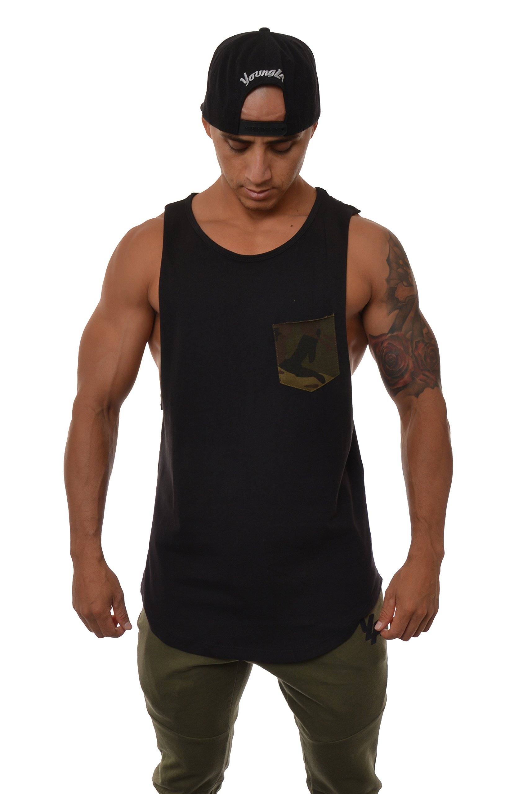 YoungLA Long Tank Tops for Men Muscle Shirt Bodybuilding Gym Athletic Training Sports Everyday Wear 306 Black w/Camo Pocket Small