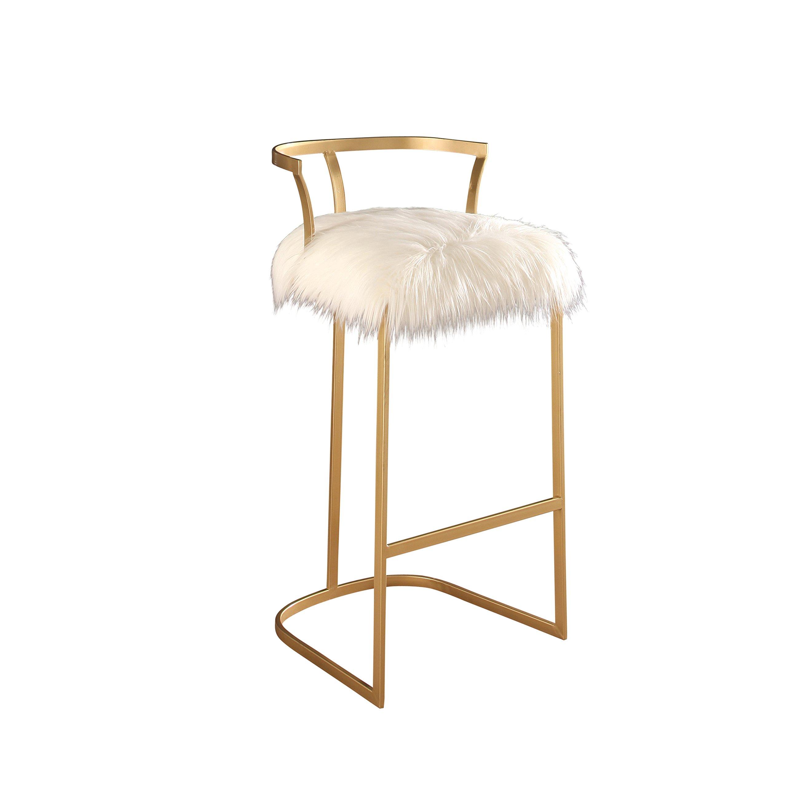 Abbyson Faithe Faux Fur Bar Stool, White/Gold