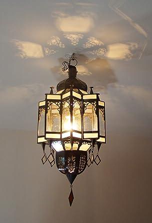 Plafonnier Lustre Lanterne Marocain 55cm Fer Forge Verre Sable