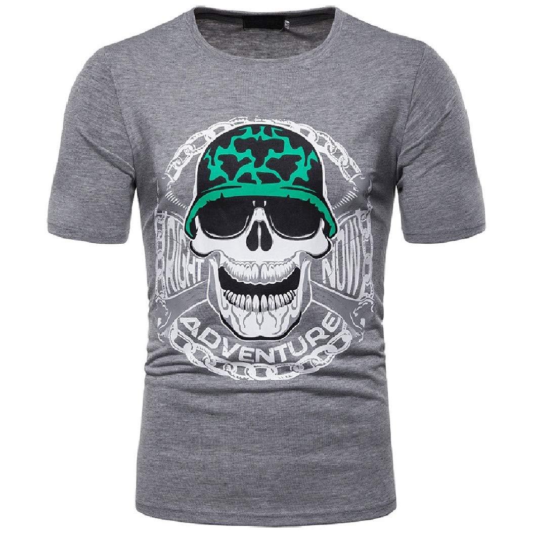 Mfasica Mens Cozy Skulls Short Sleeve Racing Crew Silm Fit Tees Top