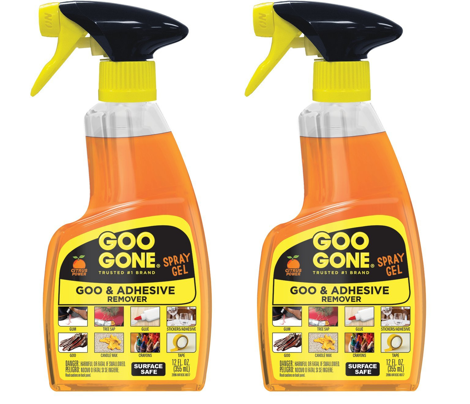 Goo Gone Adhesive Remover Spray Gel - 2 Pack - Removes Chewing Gum Grease Tar Stickers