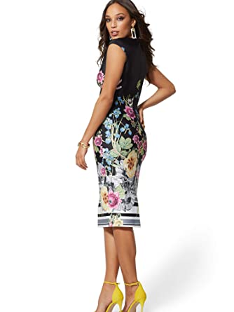 6dcdd262 New York & Co. Women's V-Neck Scuba Sheath Dress - Floral at Amazon Women's  Clothing store: