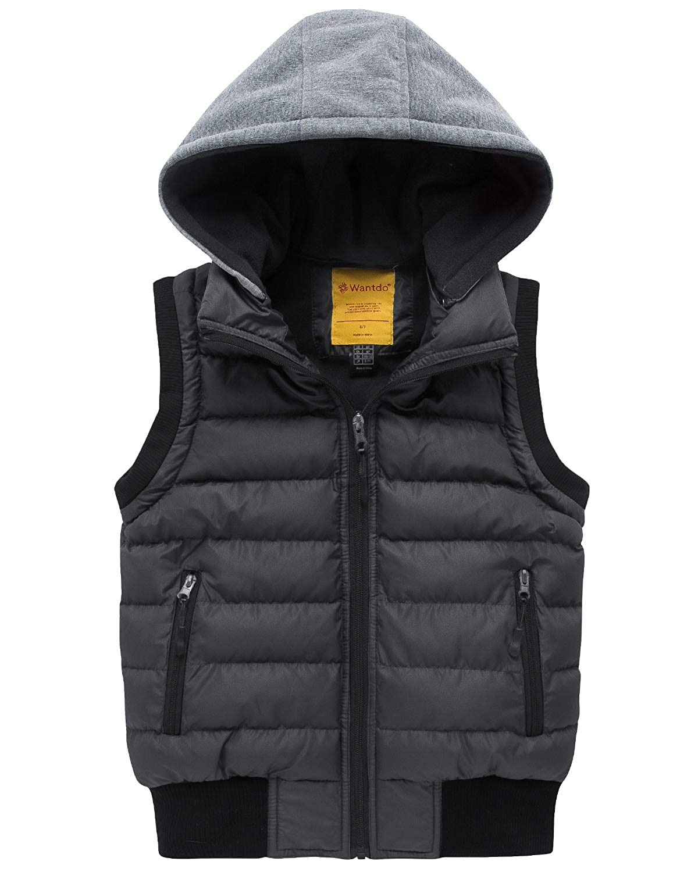 Wantdo Boy's Hooded Puffer Fleece Vest Warm Sleeveless Thick Jacket