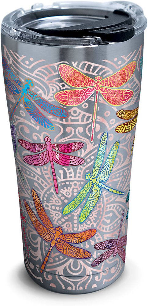 Tervis 1261344 Dragonfly Mandala Stainless Steel Tumbler with Clear and Black Hammer Lid 20oz, Silver