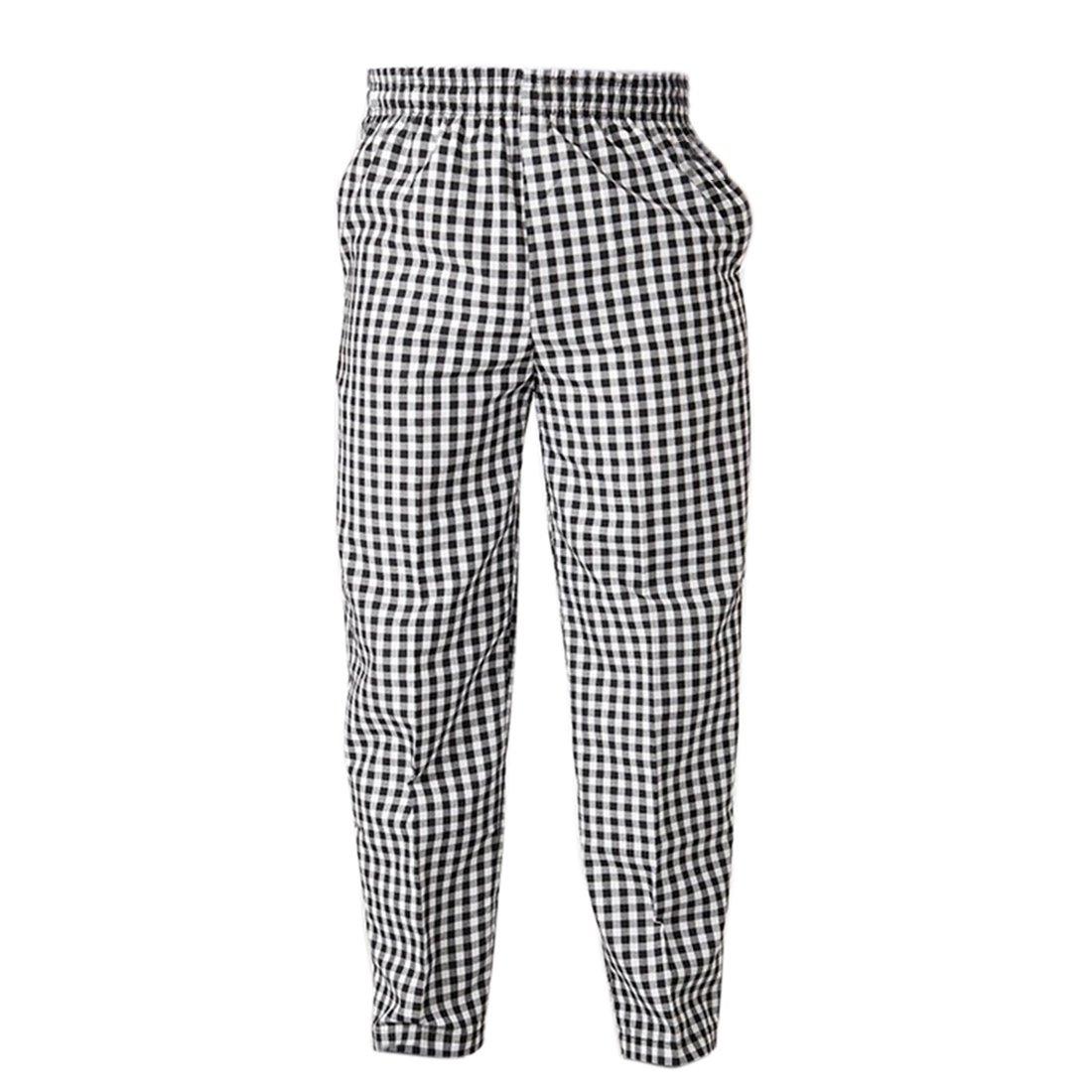 Freahap Baggy Chef Pants Elastic Waist Chef Works Black white plaid Asian M