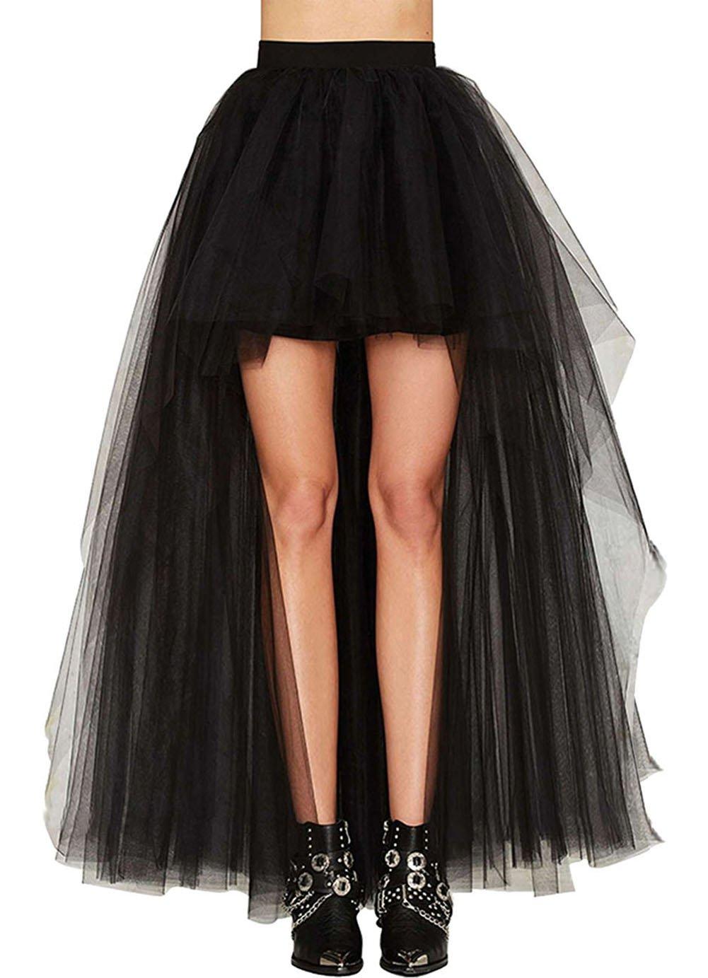 COSWE Womens Lace Asymmetrical High Waist Swallowtail Skirt