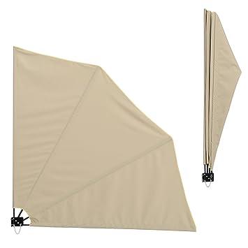 Deuba Tenda da Balcone a ventaglio Supporto per Parete 140x140cm Protezione dal Sole Privacy Beige