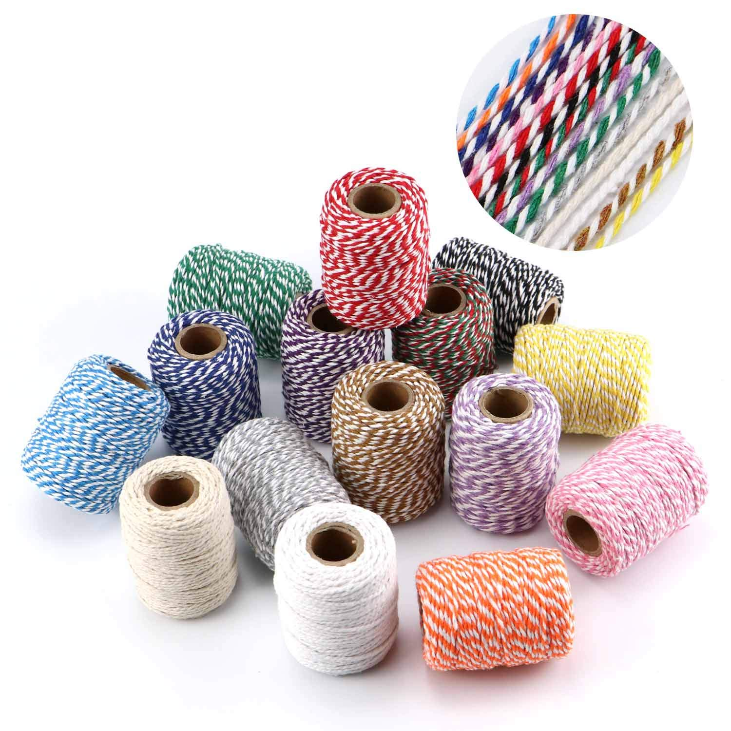 HULISEN Jute Twine Picture Display and Embellishments 15 Roll Natural Jute String 410 Yards 1230 Feet Gift Wrapping Twine DIY Crafts 2mm 3 ply Twine String for Artworks