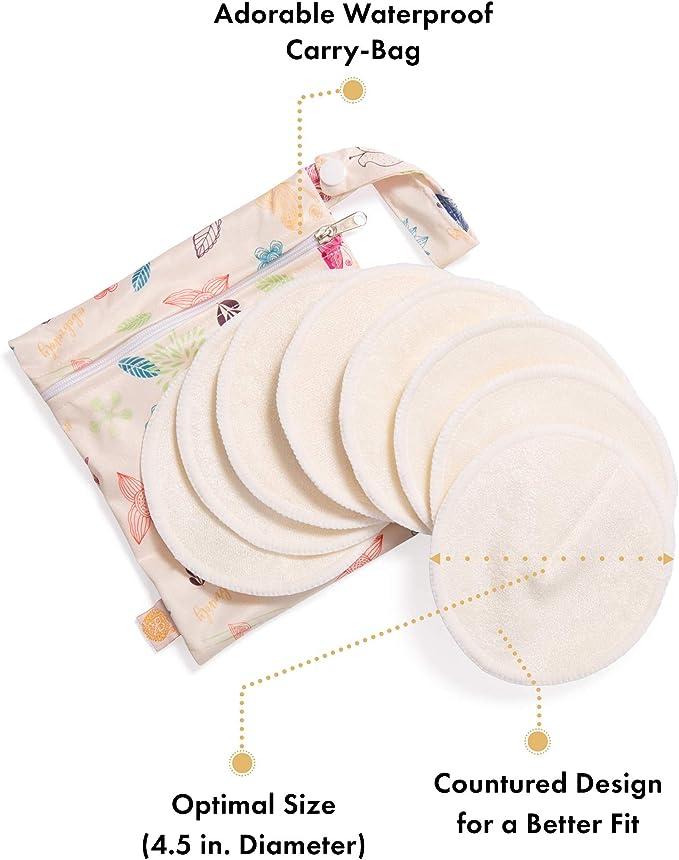12pcs coussinets dallaitement en fibre de bambou lavables pour lallaitement maternel douces r/éutilisables trois couches pad d/émaquillant prot/ège-seins doux contre la peau sensible
