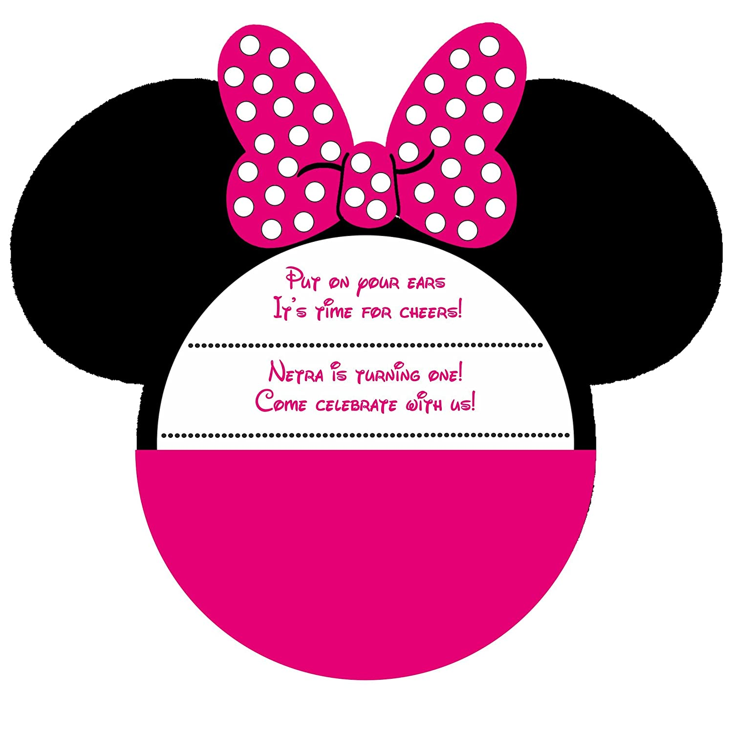 Jubilant Theme Designer Birthday Invitation Card Minnie Mouse Pack