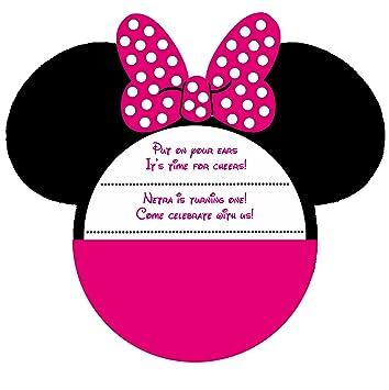Jubilant Theme Designer Birthday Invitation Card Minnie Mouse