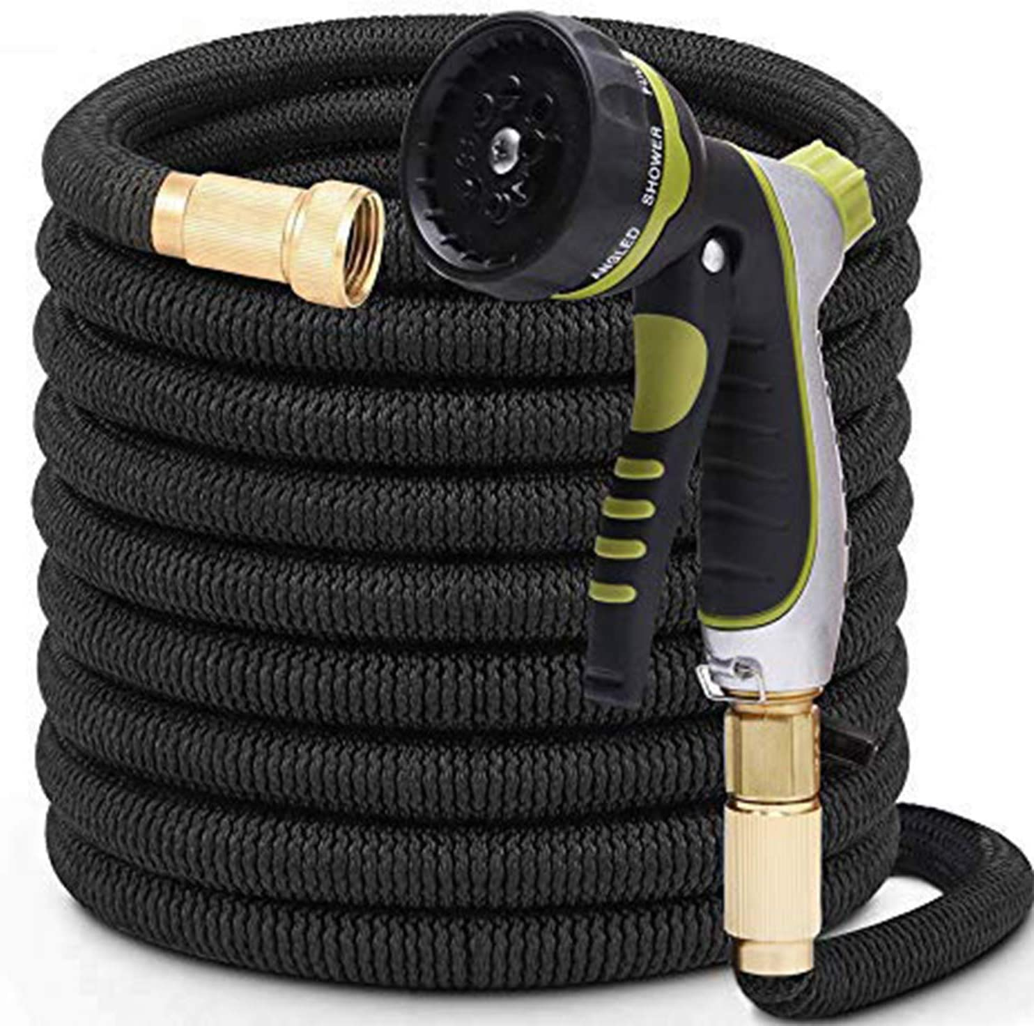 PLSDOIT 25FT Expandable Garden Hose with 8 Function Nozzle No Kink Flexible bility Extra Strength with 3/4 Inch Solid Brass Fittings & Double Latex Core Rot Crack Leak Resistant Soaker Hose