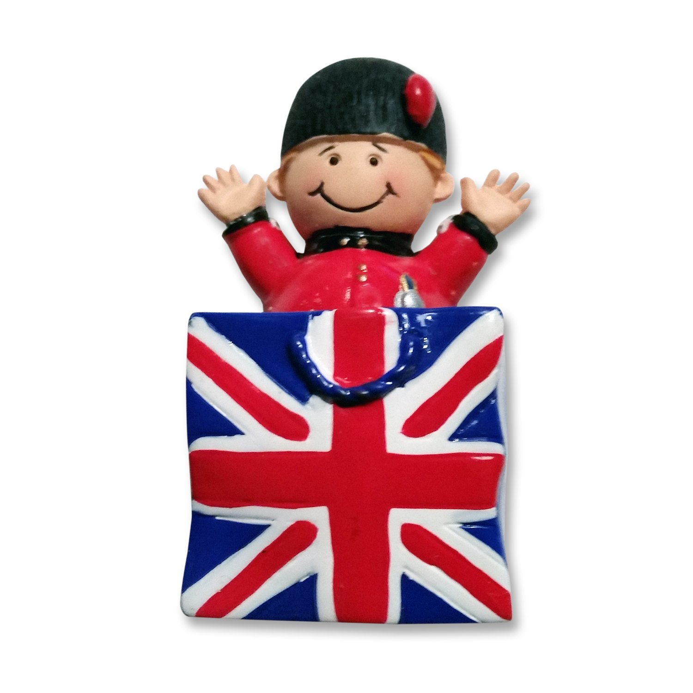 My London Souvenirs - Magnete per frigorifero, motivo: guardia reale sorridente e Union Jack, souvenir di Londra, 100% soddisfatti Elgate OLIVER