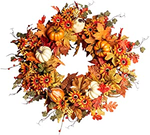 "Artificial Fall Wreath,22"" Autumn Wreath for Front Door with Big Pumpkins and Orange Daisy Flowers Fall Maple Leaf Wreath for Front Door and Thanksgiving Decor"