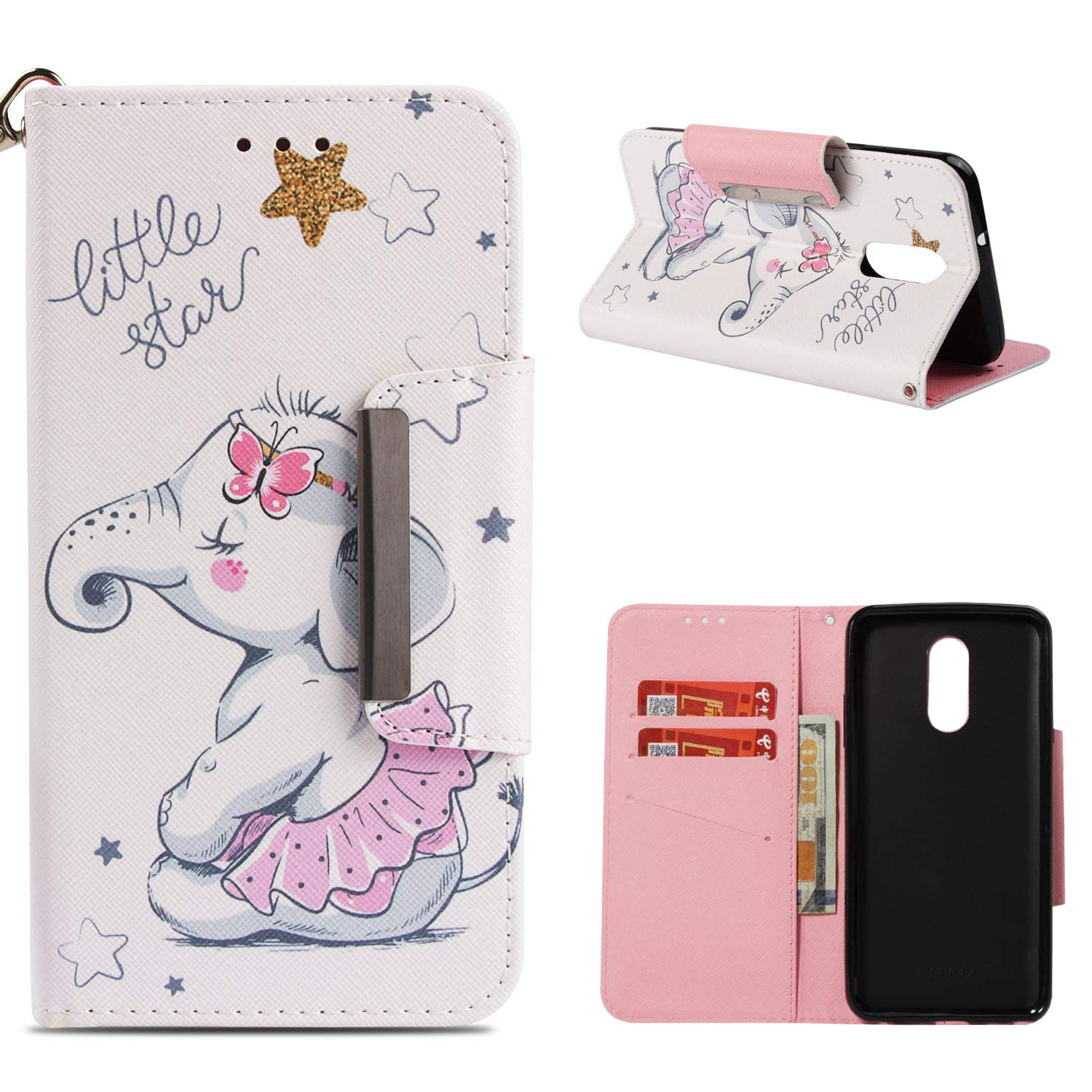 Leather Wallet Case for LG Q Stylus/LG Stylo 4,Shinyzone Cute Cartoon Animal Elephant Painted Pattern Flip Stand Case,Wristlet & Metal Magnetic Closure Protective Cover