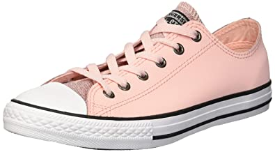 8396d71be0 Converse Girls' Chuck Taylor All Star Glitter Leather Low Top Sneaker,  Storm Pink/