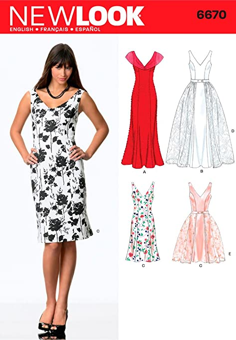New Look 6670 Size A Misses\' Dresses Sewing Pattern, Multi-Colour ...