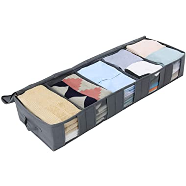 Lifewit Large Capacity Under Bed Storage Bag with 5 Clear Window for Clothing, Shoes, Blankets, Clothes, Sweaters, Grey