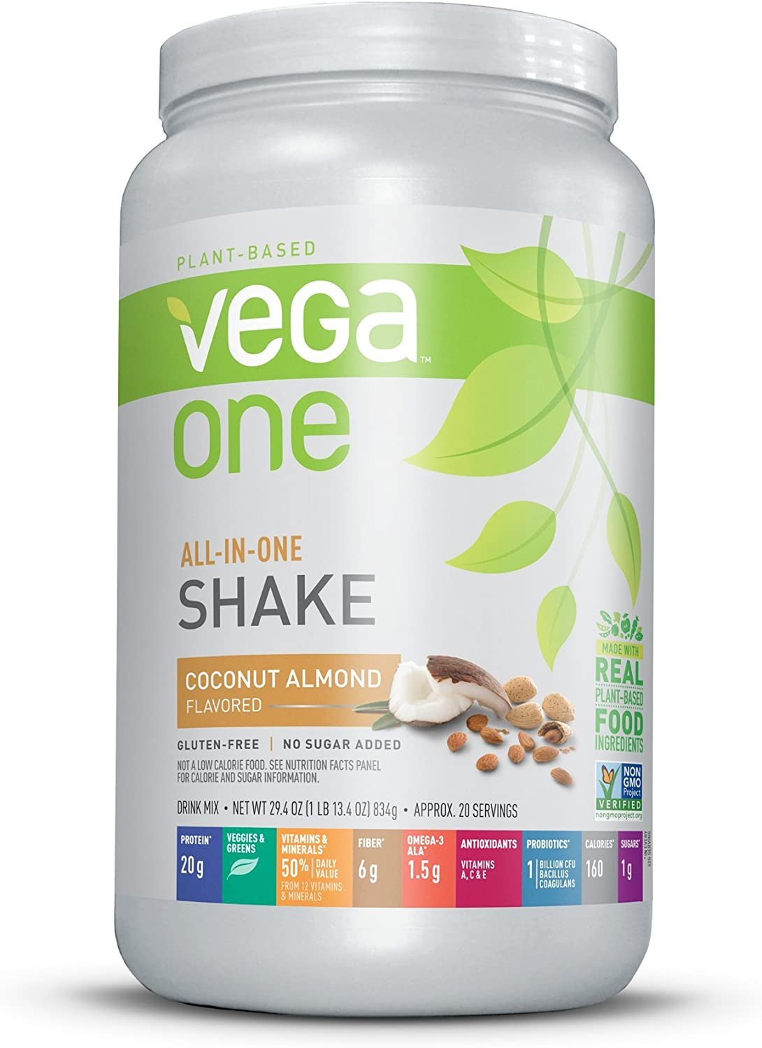 Amazon Com Vega One All In One Nutrition Shake Coconut Almond 20 Servings Plant Based Vegan Protein Powder Non Dairy Gluten Free Non Gmo 29 4 Ounce Pack Of 1 Health Personal Care