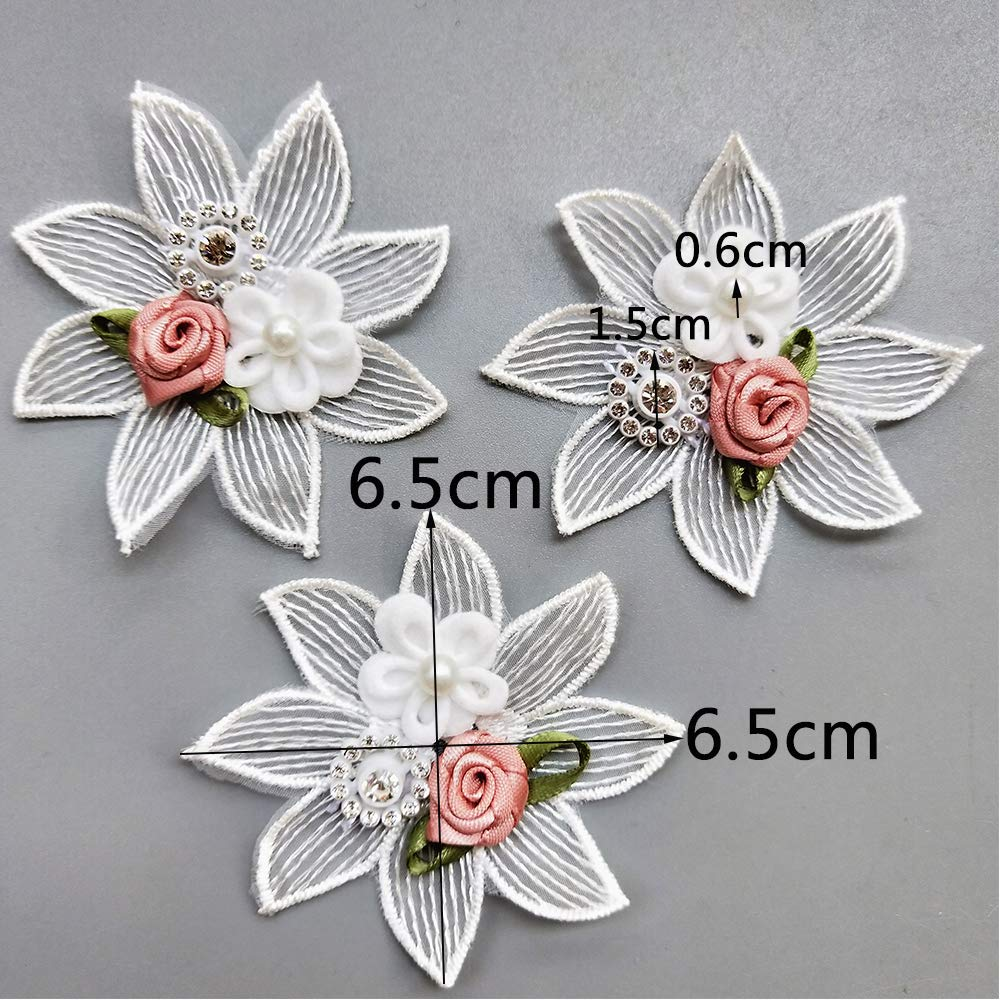 Qiuda 10pcs Flower Rhinestone Beaded Voile 3D Floral Lace Edge Trim Ribbon 6.5cm// 2-1//2 Wide White Trimmings Fabric Embroidered Applique Sewing Craft Wedding Bridal Dress Embellishment Decoration