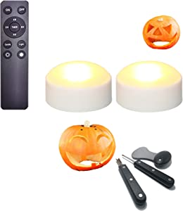 2 Pack Halloween Pumpkin Lights LED Battery Flameless Candles with Remote & 3 PCS Heavy Duty Stainless Steel Pumpkin Carving Tool Kit Set for Halloween Party Pumpkin Sculpting Jack-O-Lantern Décor