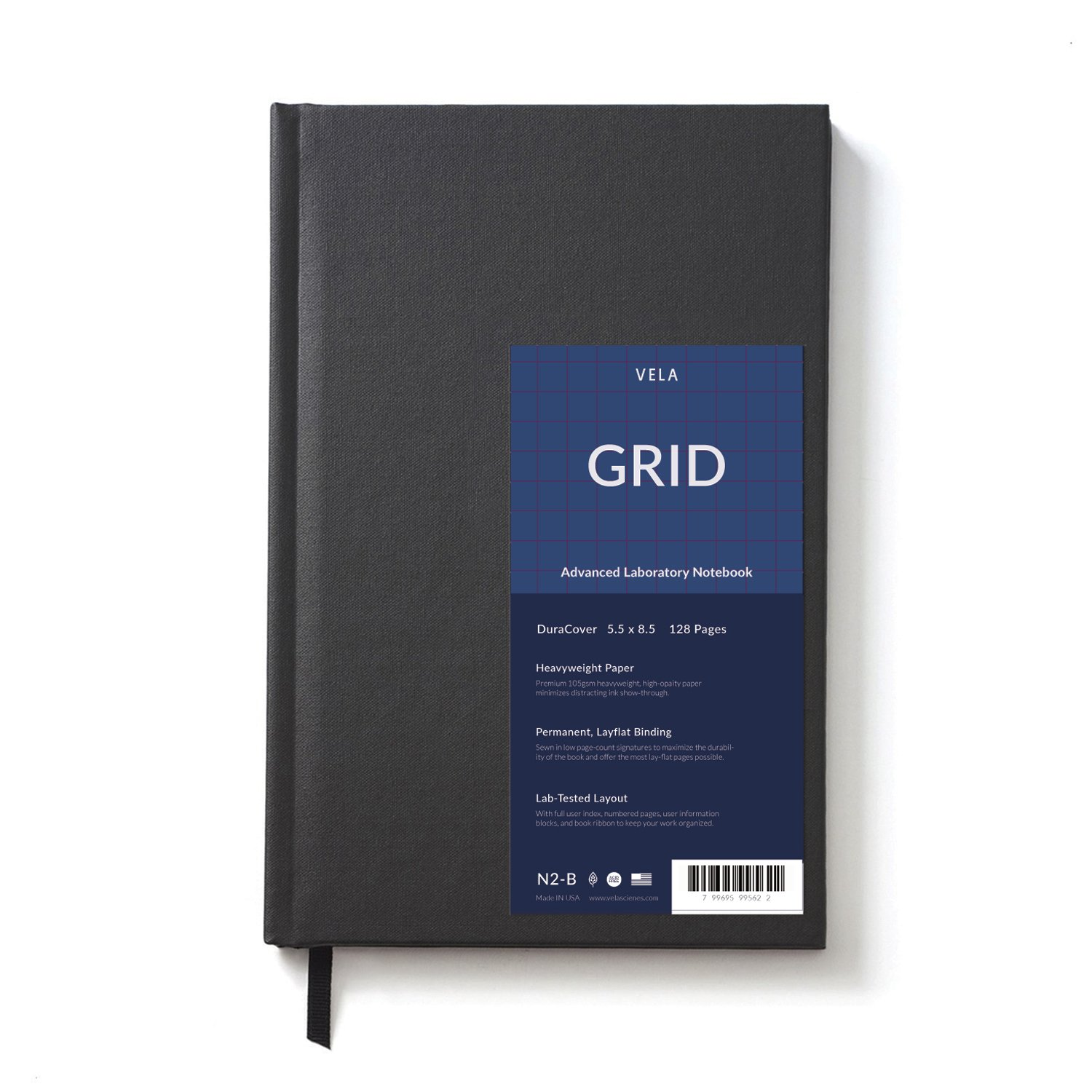 Vela Sciences Field DuraCover Notebook, 5.5 x 8.5 inches, 136 pages (1-Pack, Grid)