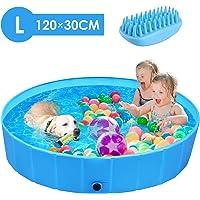 femor Piscina Perros y Gatos Bañera Plegable, Piscina para Niños,PVC Antideslizante y Resistente al Desgaste, Adecuado para Interior Exterior al Aire Libre, Color Azul (120 x 120 x 30cm)