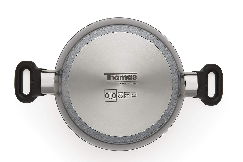 Thomas Titanium Cookware - Cacerola con tapa de cristal (24 cm, 3,8 ...
