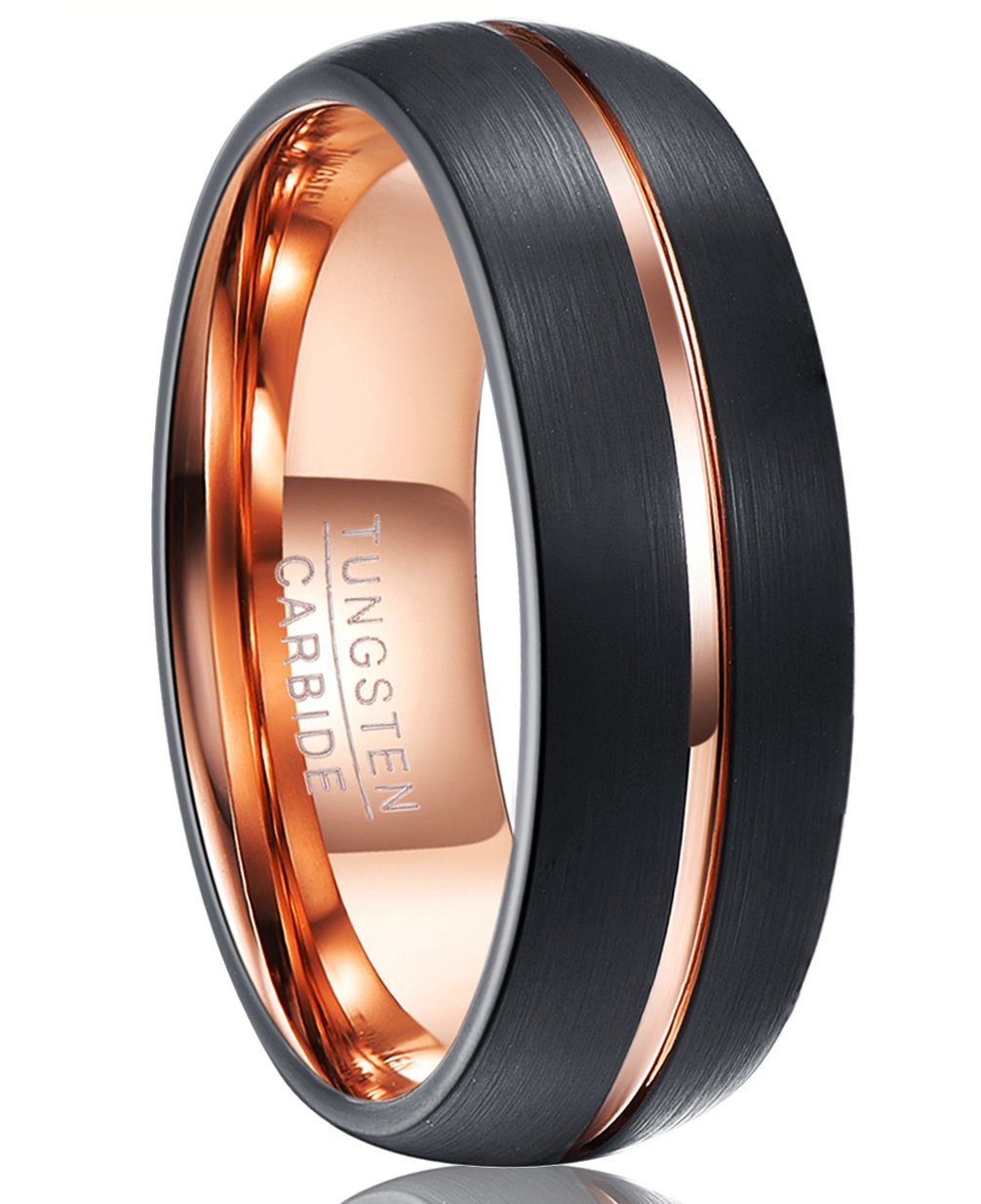 Nuncad 8mm Tungsten Carbide Wedding Band with Groove Black Tungsten Rings Rose Gold Plated Size 9