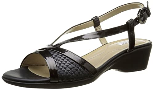 Geoxd New Coral A Sandalias Mujer, Negro (Noir (C9999