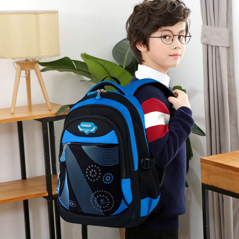 Bageek Cartable Garcon Sac a Dos Garcon Sac /école Garcon Primaire en Oxford Cartable priamire Sac a Dos College pour Garcon Cartable Enfant Primaire Scolaire College Noir et Bleu Bleu