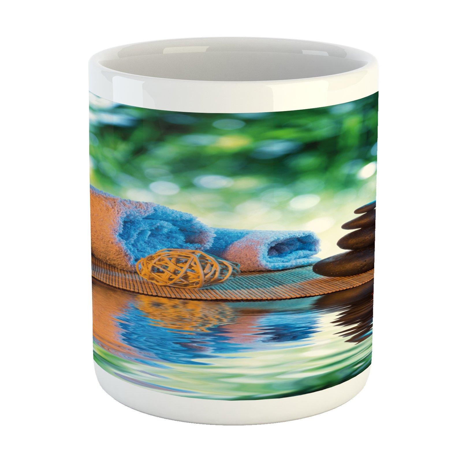 Lunarable Spa Mug, Asian Culture Inspiration Chinese Japanese Candles Zen Meditation Stones, Printed Ceramic Coffee Mug Water Tea Drinks Cup, Green Orange Lavander