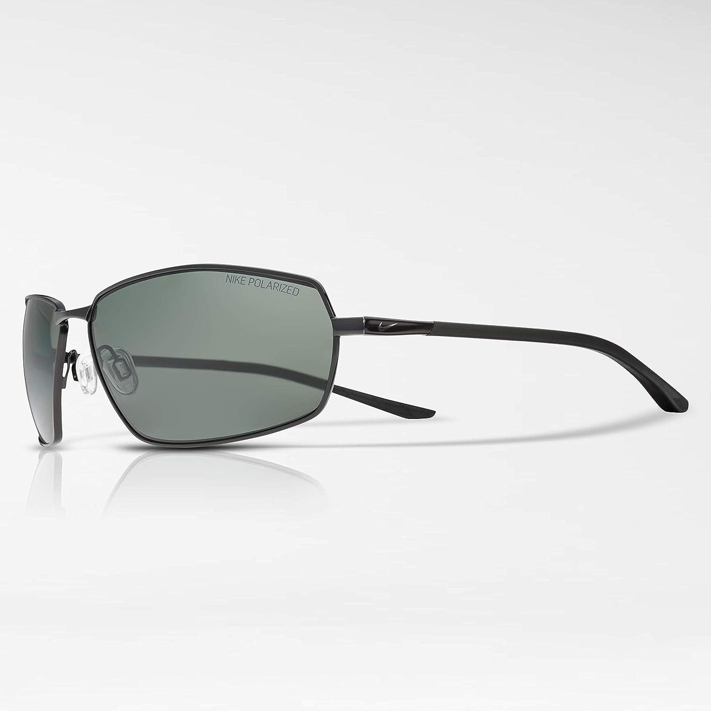 d69a244bdf3 Amazon.com  Nike Men s Pivot Eight P Polarized Rectangular Sunglasses Shiny  Black 63 mm  Clothing