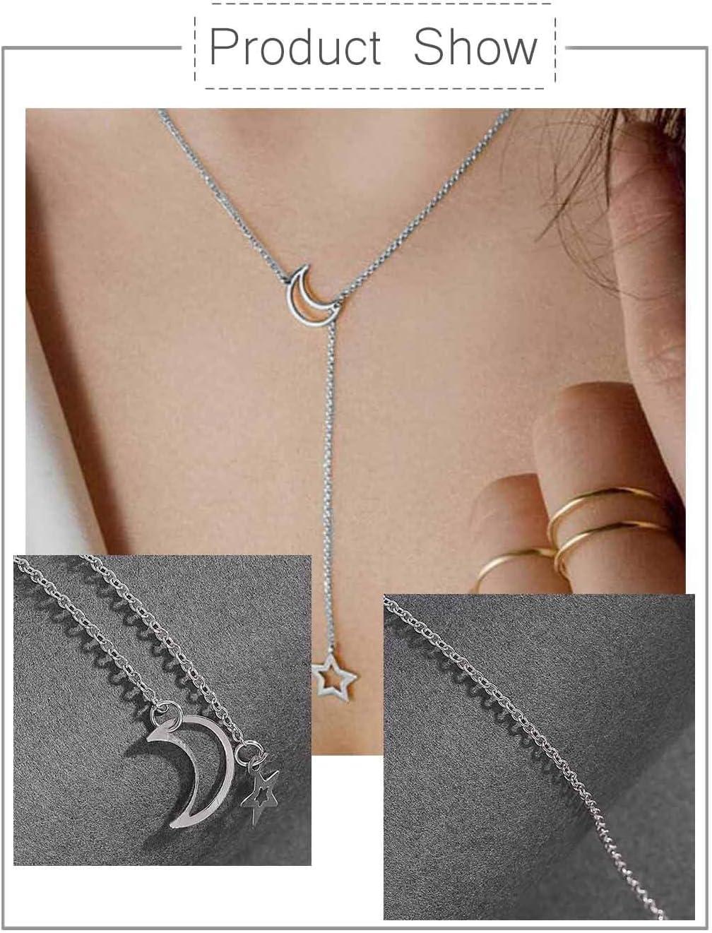 dor/é Fashband Collier boh/ème lune avec pendentif /étoile d/élicat Collier cha/îne clavicule minimaliste Simple Bijoux de cou pour femmes et filles