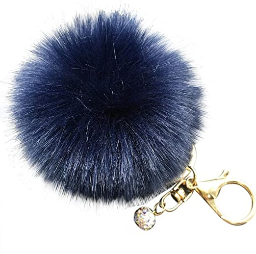 60x Rabbit Fur Pom-pom Key Chain Bag Charm Fluffy Puff Ball Key Ring Car Pendant