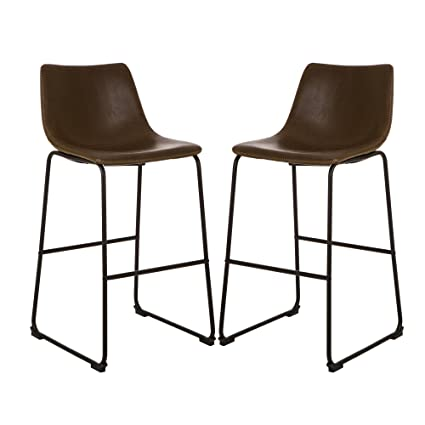 Admirable Glitzhome 39 17 H Counter Height Bar Stool Dining Kitchen Chair Black Metal Base Leather Seat Set Of 2 Creativecarmelina Interior Chair Design Creativecarmelinacom