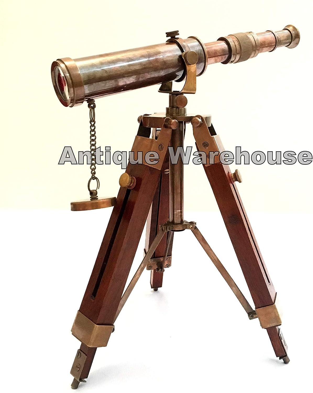 BRASS TELESCOPE WITH WOOD TRIPOD STAND VINTAGE NAUTICAL MARINE DECOR