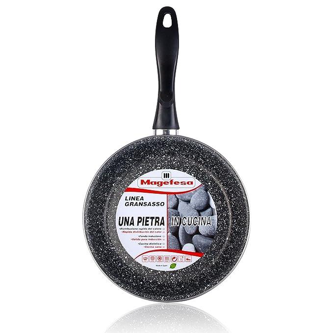 Magefesa K2 Gransasso - Set Juego 3 Sartenes 18-22-28 cm, inducción, antiadherente PIEDRA libre de PFOA, limpieza lavavajillas apta para todas las cocinas, ...