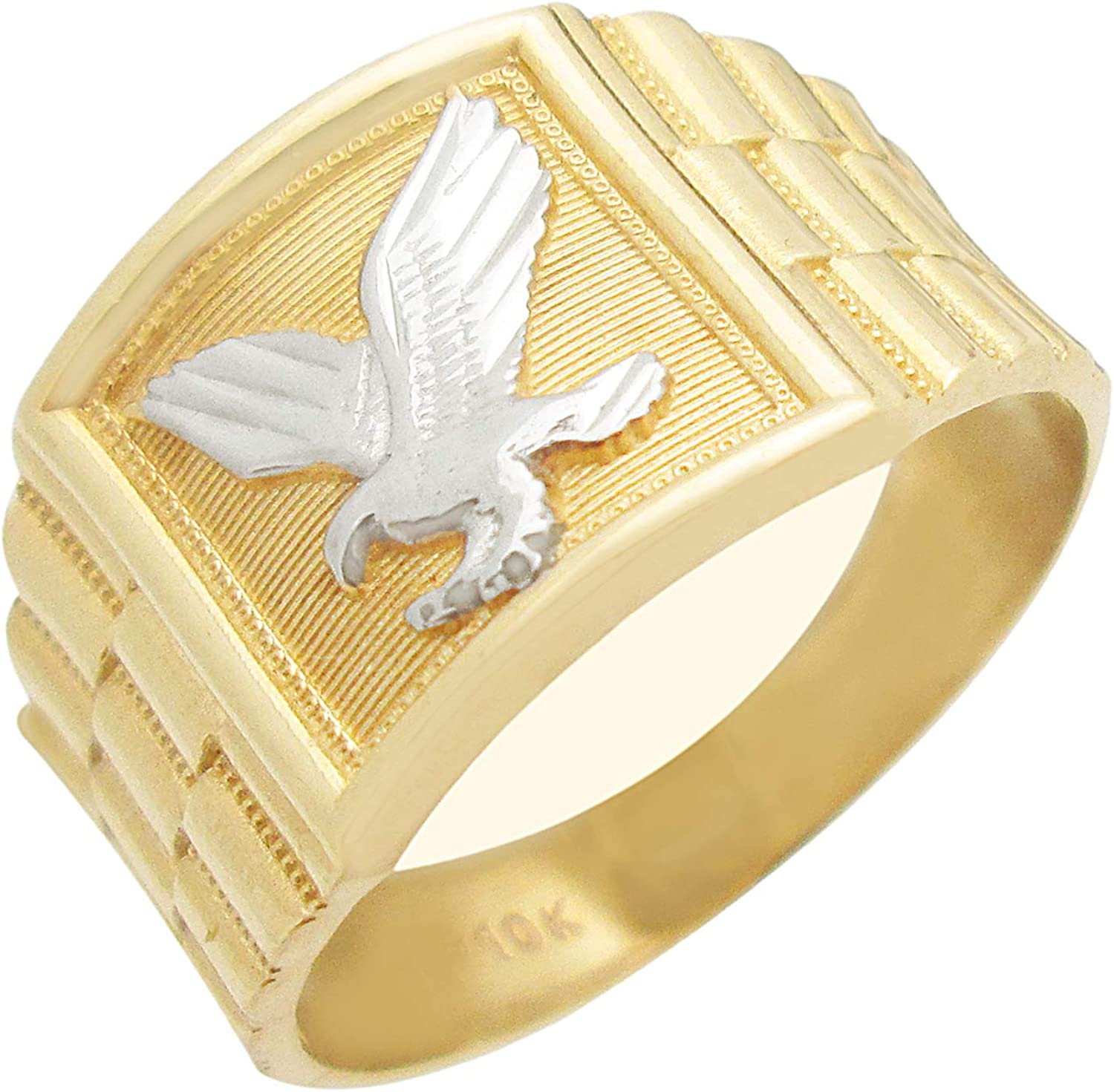 AMZ Jewelry 10K Yellow Gold Mens Eagle Ring