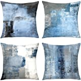 Alricc Blue Throw Pillow Cover,Pack of 4 Soft Velvet Decorative Cushion Cover for Sofa Bedroom Living Room (18X18 inch,Blue)