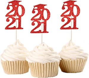 30 Pack Graduation Cupcake Toppers, Red Glitter Grad Cap 2021 Cupcake Toppers Food Picks Cake Decoration for Class of 2021 Graduation Party Decorations Supplies