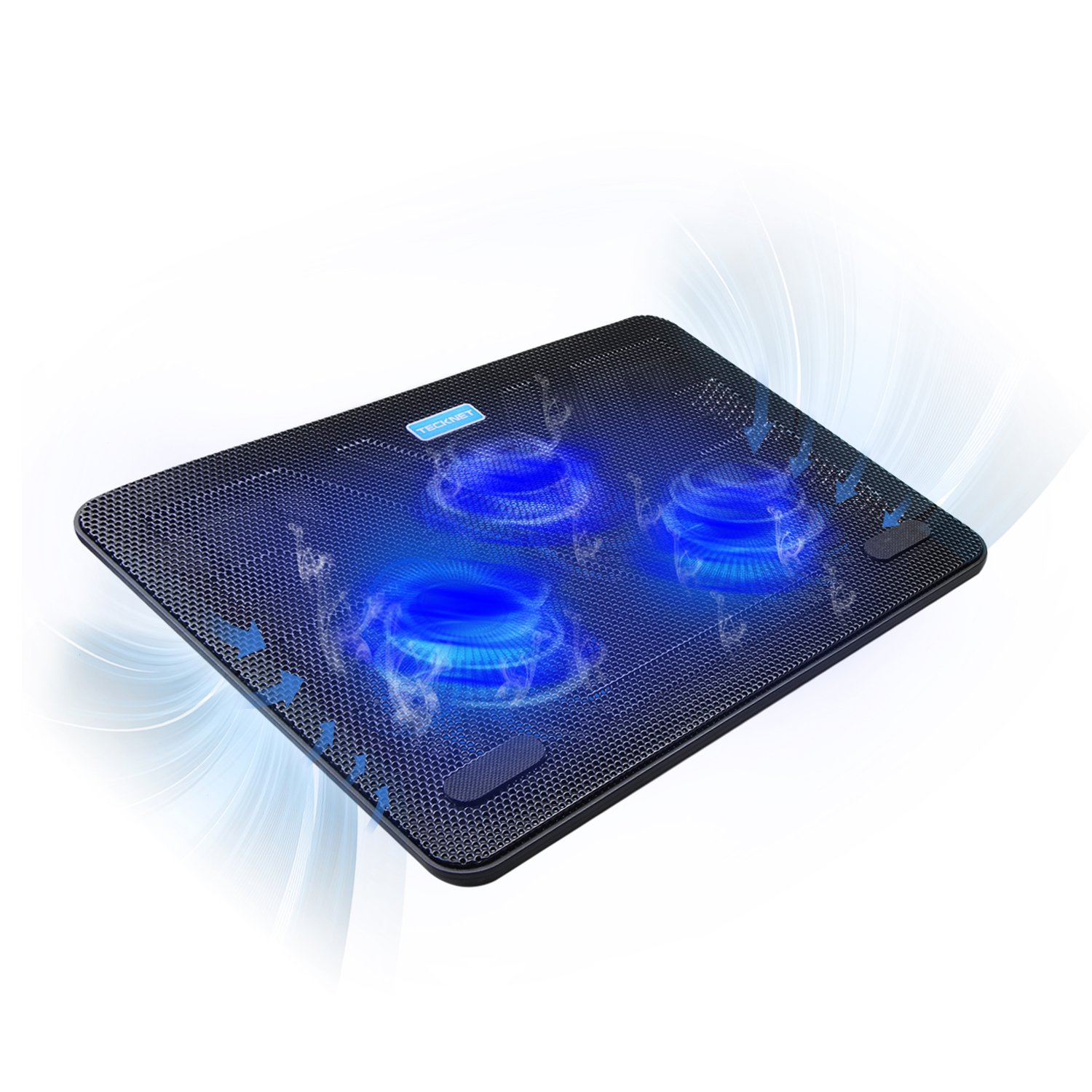 """TECKNET 12""""-17"""" Quiet Laptop Cooler Cooling Pad Stand With 3 USB Powered Fans, 1200 RPM, Light Weight & Ultra-Slim Design"""